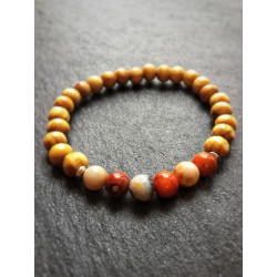 BRACELET WOOD & GEMSTONE AGATE