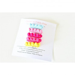 5 barrettes pompons, pince...