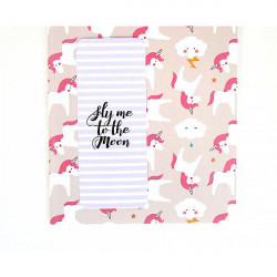 Cahier A5 : licorne +1 marque-pages fly me to the moon