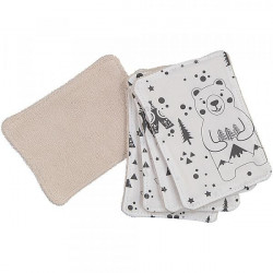 Lot de 5 lingettes lavables fox and bear noir et blanc